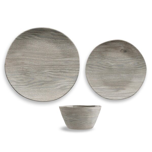 Friese French Oak 12 Piece Melamine Dinnerware Set, Service for 4 by Greyleigh