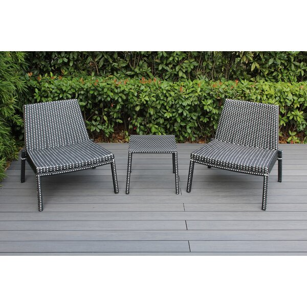 Kiara 3 Piece Rattan 2 Person Seating Group by Brayden Studio