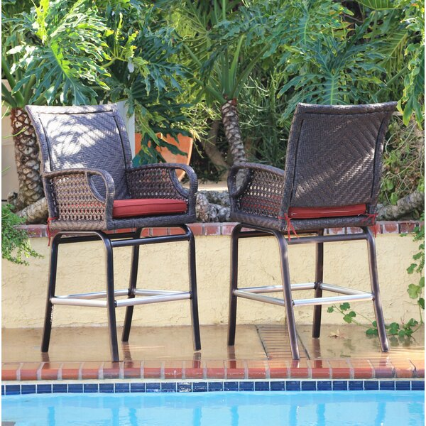 Ketron 30 Patio Bar Stool with Cushion (Set of 2) by Bayou Breeze