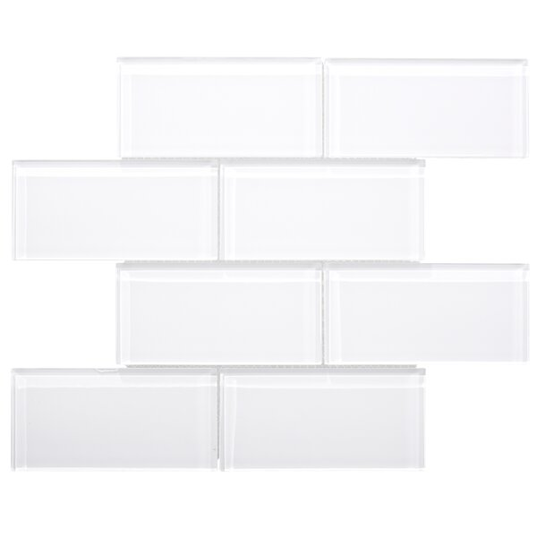Premium Series 3 x 6 Glass Subway Tile in White by