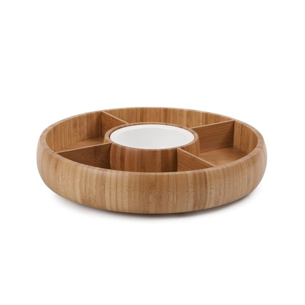 Bamboo Chip and Dip Platter by Sweet Home Collection