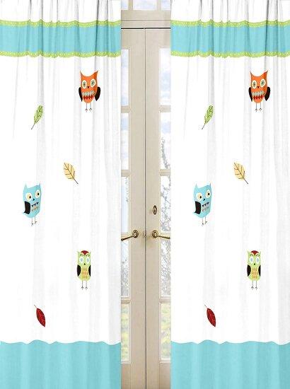 Hooty Wildlife Semi-Sheer Rod pocket Curtain Panels (Set of 2) by Sweet Jojo Designs