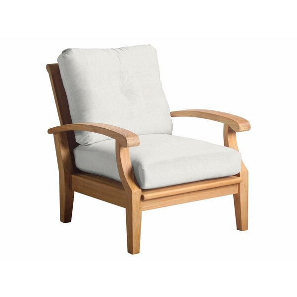 Lowery Teak Patio Chair with Sunbrella Cushions by Rosecliff Heights