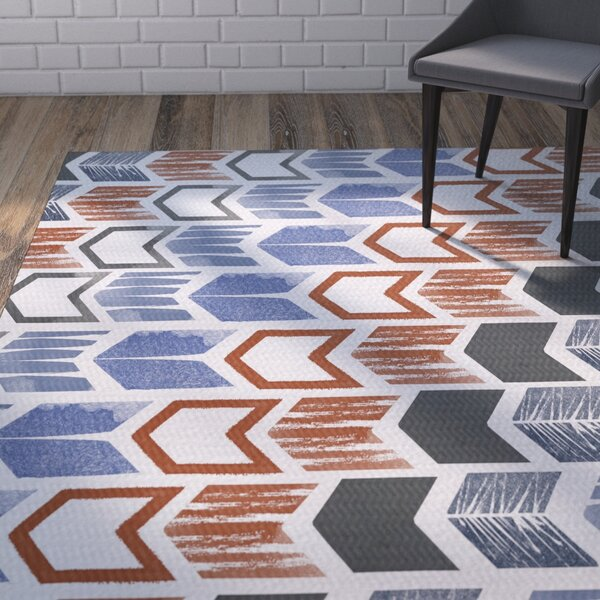 Waller Geometric Gray/Blue Area Rug by Ivy Bronx