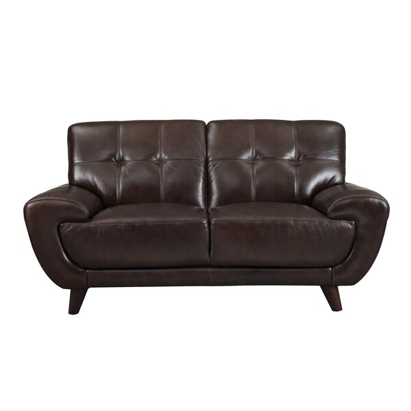 Beautiful Modern Sterns Craft Leather Loveseat by Brayden Studio by Brayden Studio