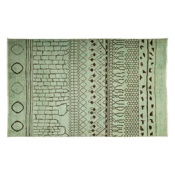 One-of-a-Kind Moroccan Hand-Knotted Green Area Rug by Darya Rugs
