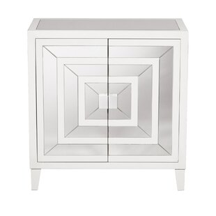 Square Mirror Overlay 2 Door Accent Cabinet