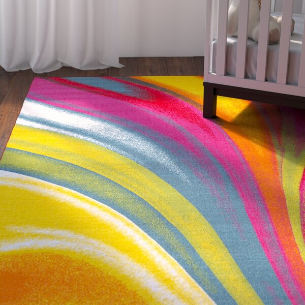 Eddie Red/Yellow Area Rug by Viv + Rae
