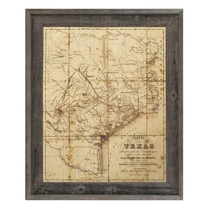 'Sepia Texas Map' Framed Graphic Art by Click Wall Art