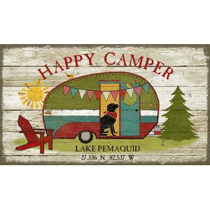 'Happy Camper' by Suzanne Nicholl Graphic Art Print on Wood by Red Horse Arts
