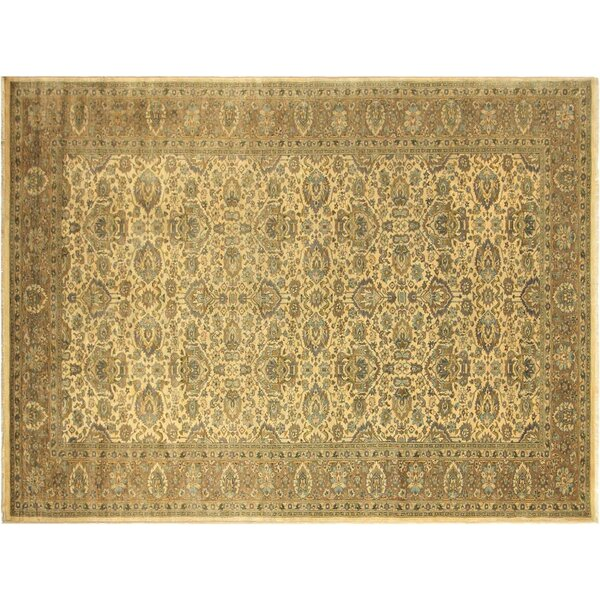 Bath Hand-Knotted Wool Ivory/Light Brown Area Rug by Bloomsbury Market