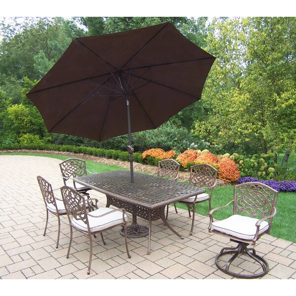 Oxford Mississippi 7 Piece Dining Set with Cushion and Umbrella by Oakland Living