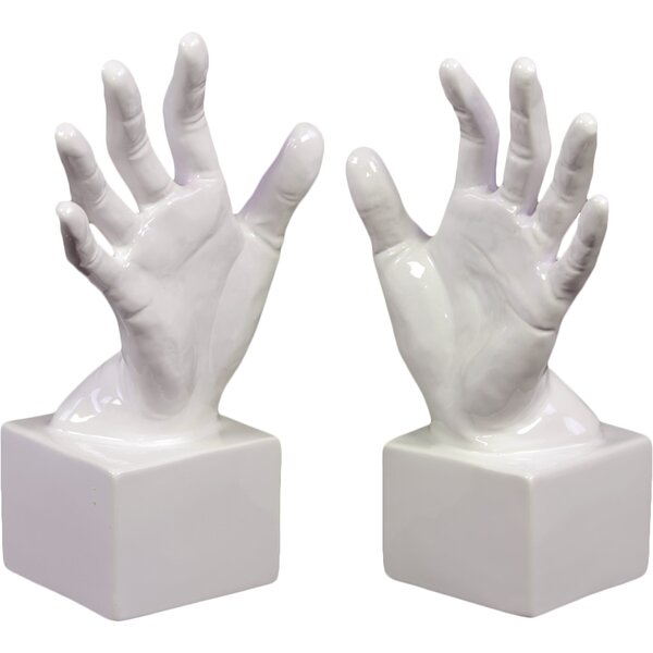 Ceramic Open Palm Bookend Gloss White (Set of 2) by Urban Trends