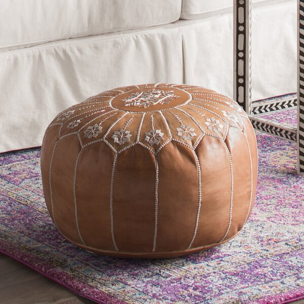 Clarkdale Leather Pouf Ottoman