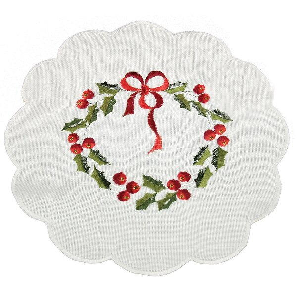 Country Wreath Embroidered Hemstitch Round Holiday Doily (Set of 4) by Xia Home Fashions
