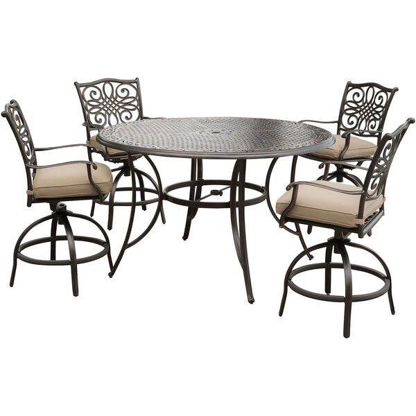 Carleton 5 Piece Bar Height Dining Set with Cushions by Fleur De Lis Living
