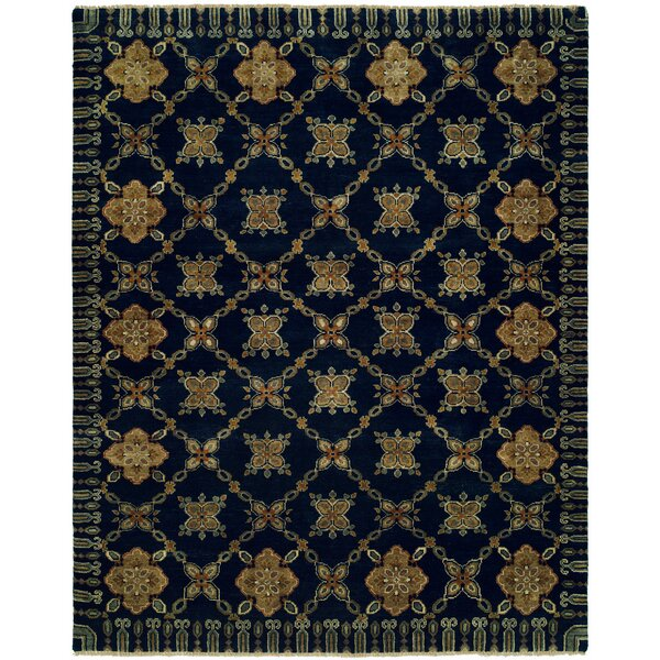 Herzog Hand Knotted Wool Navy Area Rug by Fleur De Lis Living