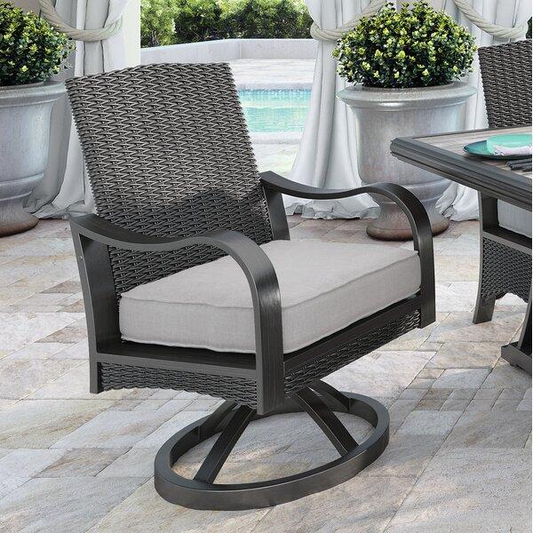 Kohn Swivel Patio Dining Chair with Cushion (Set of 2) by Bayou Breeze