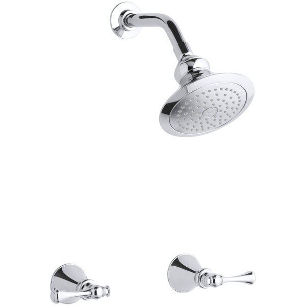 Revival Shower Faucet Set with Traditional Lever Handles and Single-Function Shower Head, Standard Showerarm and Flange by Kohler