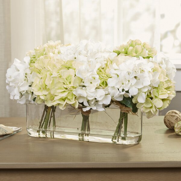Hydrangea Centerpiece in Glass Vase by Birch Lane�