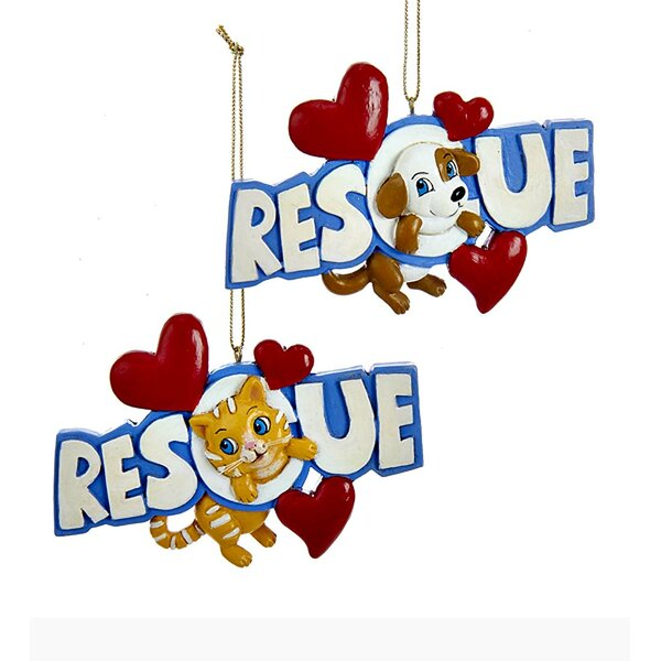 2 Piece Rescue Pets Ornament Set by Wind & Weather