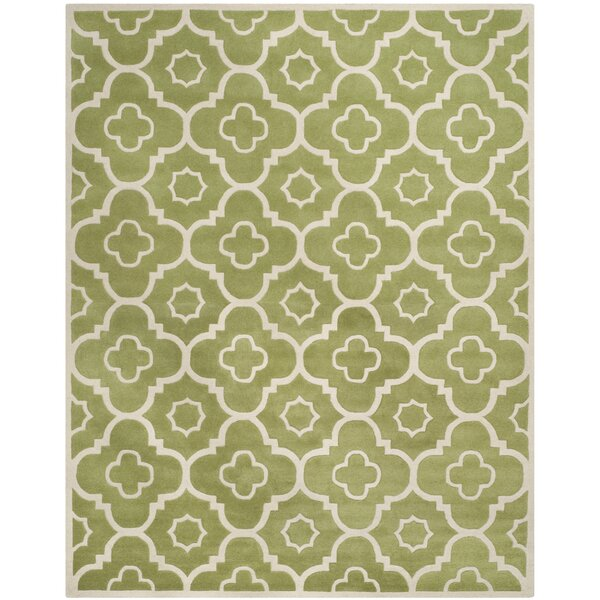 Wilkin Hand-Tufted Wool Green/Ivory Area Rug by Wrought Studio