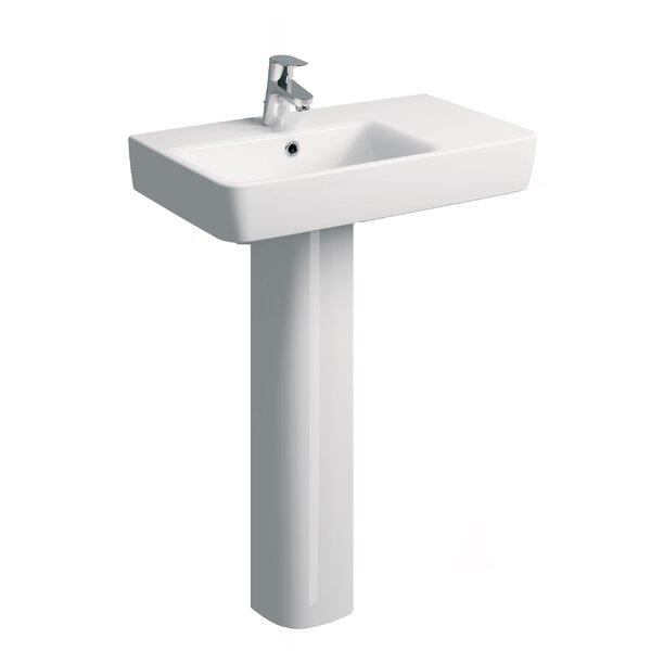 Comprimo Ceramic Rectangular 26 Pedestal Bathroom Sinks with Overflow