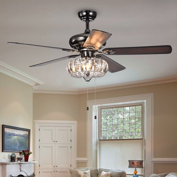 52 Laivai Crystal 5 Blade Ceiling Fan by House of Hampton