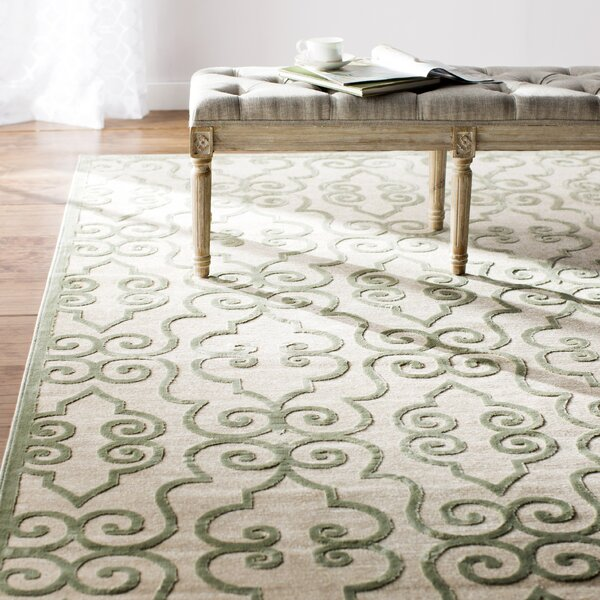 Robicheaux Cream/Light Green Area Rug by Lark Manor