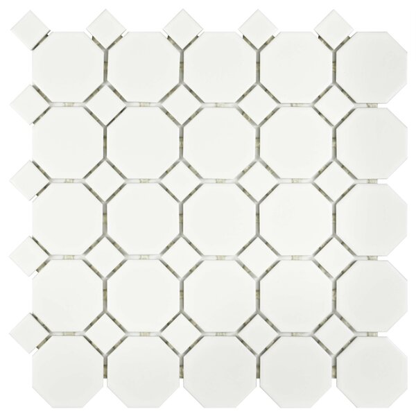Retro Random Sized Porcelain Mosaic Tile in Matte White by EliteTile