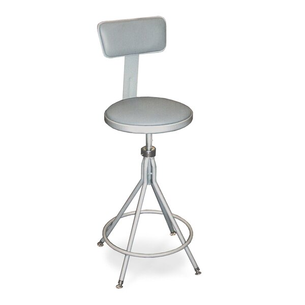 Height Adjustable Swivel Stool with Backrest by National Public Seating
