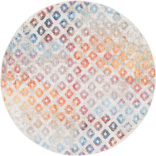 Beasley Prism Blue/Orange Area Rug by Wrought Studio
