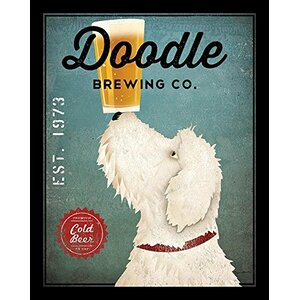'White Labradoodle Brewing Company' by Ryan Fowler Framed Vintage Advertisement by Winston Porter