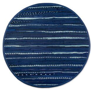 One-of-a-Kind Lengby Round Striped Rag Hand-Knotted 4' x 4' Cotton Nautical Blue Area Rug by Bloomsbury Market