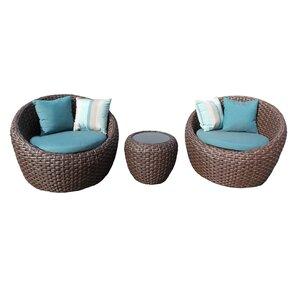 Corona 3 Piece Deep Seating Group with Cushion Bay Isle Home