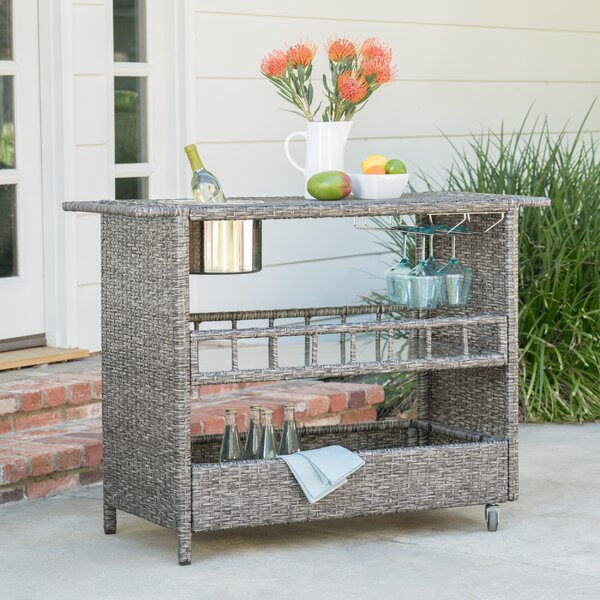 Ballew Outdoor Wicker Bar Cart by Wade Logan