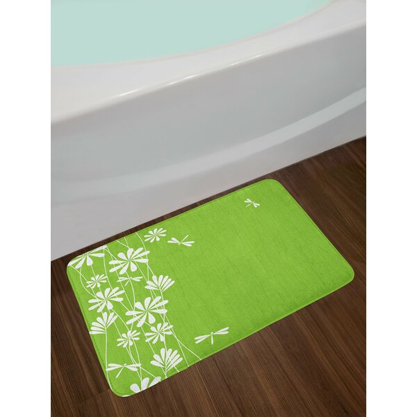 Flower Lime Green White Dragonfly Bath Rug by East Urban Home