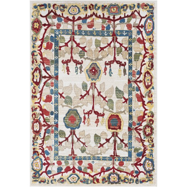 Arbouet Floral Rectangle Cream/Red Area Rug by Charlton Home