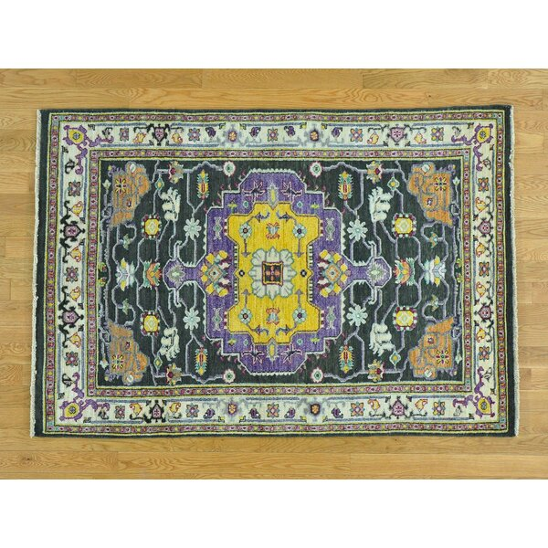 One-of-a-Kind Beare Serapi Design Handwoven Black Wool Area Rug by Isabelline