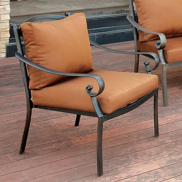 Kalmanovitz Patio Dining Chair with Cushion by Alcott Hill