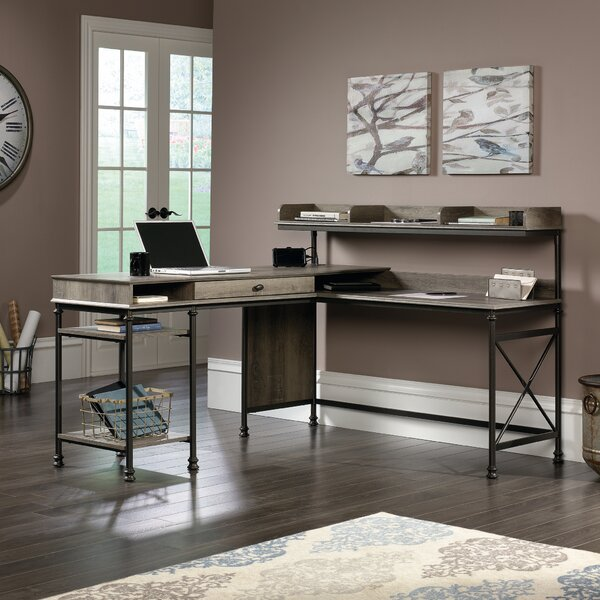 Oakside L-Shape Computer Desk with Hutch by Three Posts
