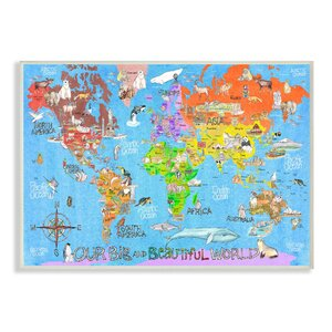 Our Big Beautiful World Map Wall Plaque by Stupell Industries