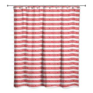 Merry Christmas Stripes Shower Curtain ByThe Holiday Aisle