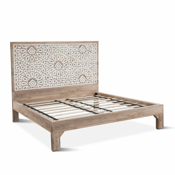 Standifer Mango Wood Geometric Carved King Platform Bed by Bungalow Rose