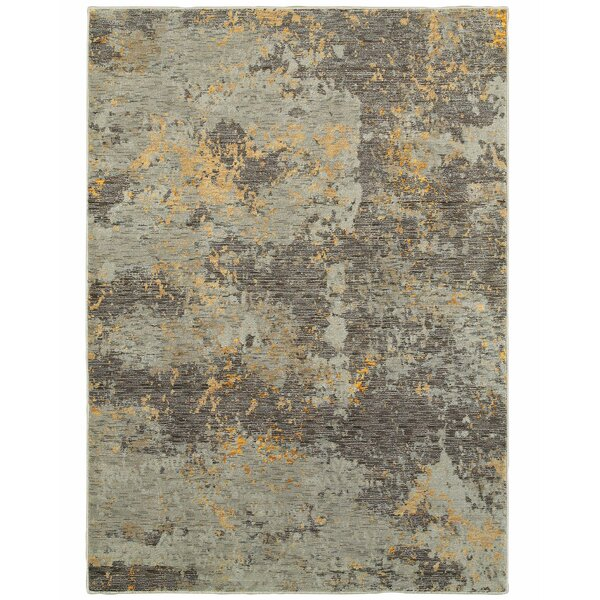 Knox Marbled Stone Gray/Gold Area Rug by Williston Forge