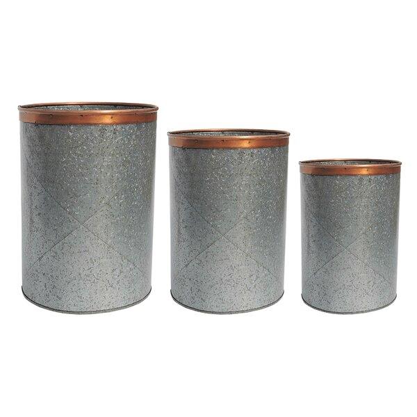 Callington Zinc Pot Planter Set (Set of 3) by Birch Lane™