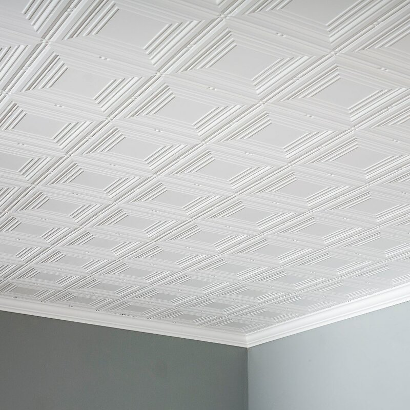 glue up ceiling tile in matte white - Glue Up Ceiling Tiles