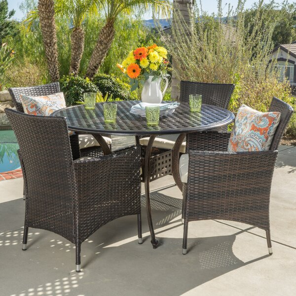 Tiarie 5 Piece Dining Set with Cushions by Beachcrest Home