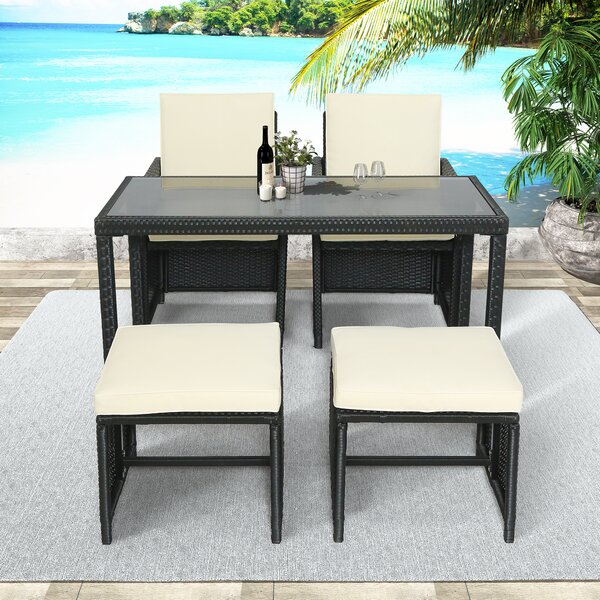 Adamjames Outdoor 5 Piece Rattan Seating Group with Cushions