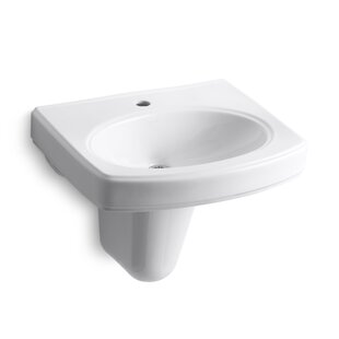 Best Price Pinoir Vitreous China 22 Semi Pedestal Bathroom Sink with Overflow By Kohler